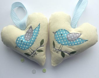 Hanging decorative bird  free motion machine embroidery heart