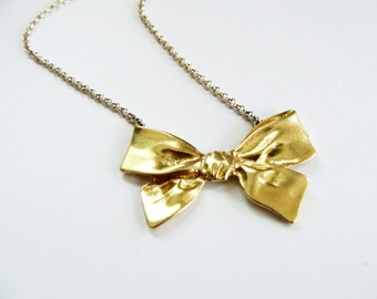 Big bow necklace metalwork - Gold Bow Necklace - kawaii bow necklace -  Bridesmaids Necklace brass and sterling silver