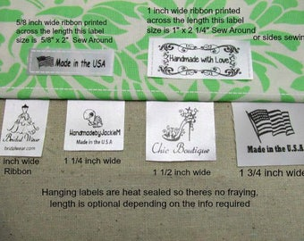 60 Custom Satin Labels - Hanging or Flat Sew Around ~