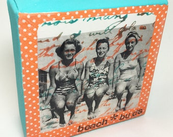Beach Buds mixed media collage canvas