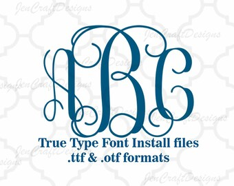 Classic Locking Monogram Font in True Type format .TTF & .OTF Installable Font for Cricut, Design Space, Microsoft Word and more