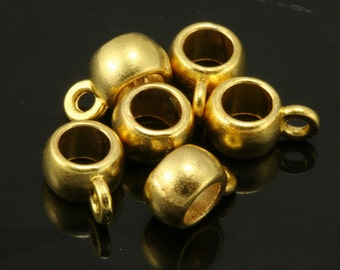 10 pcs 9x6mm gold plated alloy charm hanger holder 40