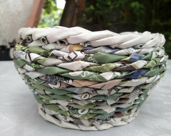 Round paper bowl, Unique decoration, Useful paper bowl, Recycled paper bowl, Green bowl, Wicker paper bowl