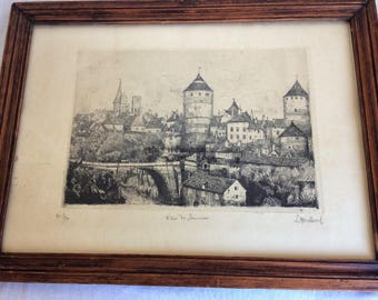 Framed vintage pen and ink drawing, original black and white wall art of a French scene