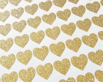 180 tiny gold glitter Heart stickers, wedding invitation decoration, gold wedding favor, engagement party sticker, gold stickers, gold heart