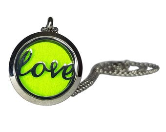 "Stainless Steel ""Love"" Essential Oil Necklace"