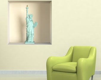 Stickers 3D illusion statue liberte A493 - Wall decals 3D illusion statue liberty A493