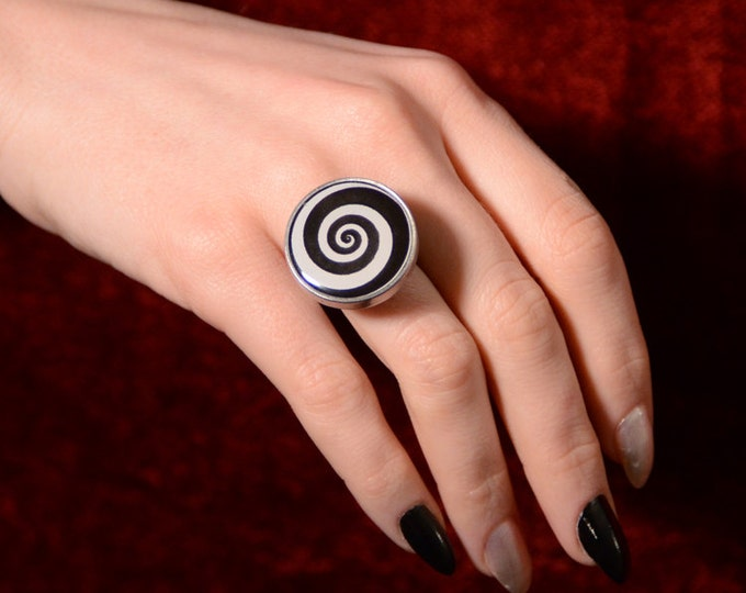 Mechanical  Spiral Ring -Optical Illusion Spinning Spiral Steampunk Jewelry