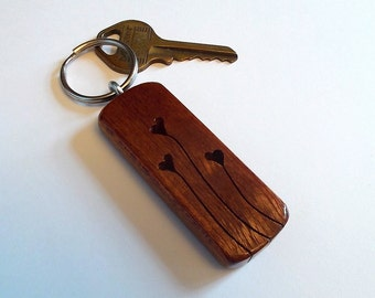 "Mahogany Wood ""HeartStrings"" Key Fob / Keychain"