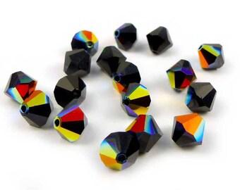 20 x Swarovski® 6 mm JET AB Crystal bicones