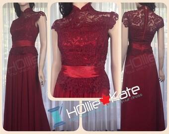 Maroon Chinese Ceremony Dress, Burgundy Cheongsam, Dark Red Qipao