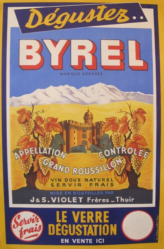 1940s French Vintage Art Deco Alcohol Poster Byrel Retro