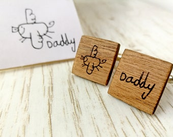 Personalised cufflinks. Children's drawing cufflinks. Wood Cufflinks. Grooms cufflinks Valentine gift for men. Fathers day gift. Walnut wood