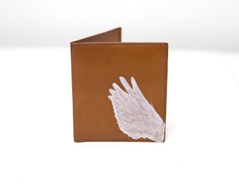 Vintage Leather Bifold Card Wallet with Hand Painted Wing