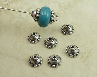6 TierraCast 8mm Beaded Bead Caps - Ornate Bali Style Exotic - Silver Plated Lead Free Pewter - I ship Internationally 5501