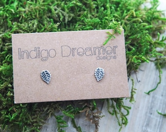 Silver Leaf Studs | Sterling Silver leaf studs | Oxidized Leaf studs | Leaf Stud earrings | Dainty Leaf studs | Nature studs
