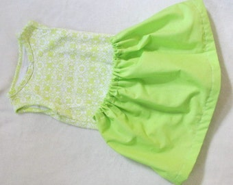 Eco-Friendly Summer Bright summery girls 9 month vintage patterned onesie with handmade lime green skirt. Botique Unique
