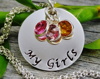 Ready to Ship - Hand Stamped Jewelry - Personalized Jewelry - Mom Necklace - Sterling Silver Necklace - Three Birthstones - My Girls