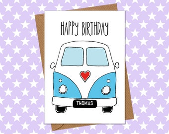 Personalised VW Campervan Birthday Card
