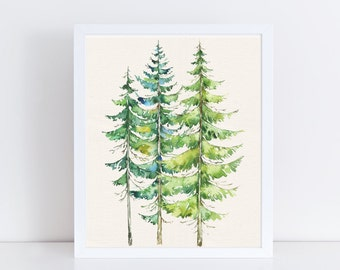 Watercolor Evergreen Trees Printable/ Art Print Watercolor Evergreen Trees/ Forest Printable, Mountain Landscape/ Download, Cabin Home Decor