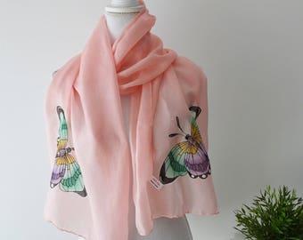 foulard butterfly in pink