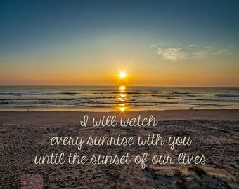 Nature Sunrays At Sunrise / Sunset On The Beach Love Quote   Photograph  Print Picture Poster