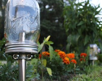 Solar Powered Mason Jar Lights - Eco Friendly Mason Jar Outdoor Path Light- Single Stainless Steel Accent - UpCycled BootsNGus Lamp Design