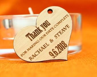 Wood Heart Thank you tags, Custom wedding favour, Rustic Thank you tags, Gift tags, Wedding decor, Engraved Thank you cards