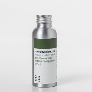 Organic Sweet Almond Oil, Cold Pressed. For dry / sensitive skin. 50ml or 100ml size. Organic skincare