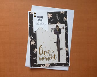 Happy 30th Bicycle Birthday Card  FREE SHIPPING