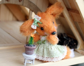 Plushie teddy Fox doll Plushie fox Stuffed fox Miniature plushie Blythe pet Cute fox Forest friend Softie Toys for girls Woodland fox animal