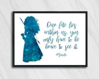 Disney Princess Merida Brave Quote Inspirational Art Prints A4