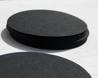 """75 3 1/2"""" black cardstock circles - paper circles - paper garland making - circles punches - craft supplies"""