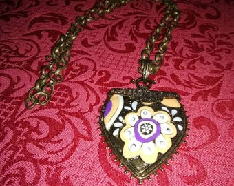 "Vintage 26"" necklace with brown chain and pendant."