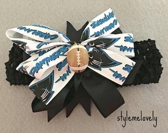 Carolina Panthers Baby girl boutique Bow Crocheted Headband
