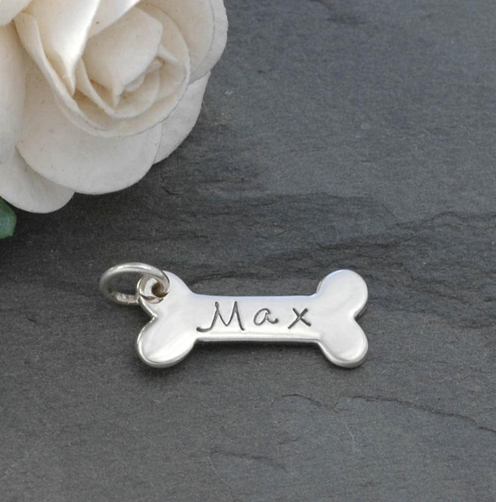 Dog bone charm personalized sterling silver zoom aloadofball Images