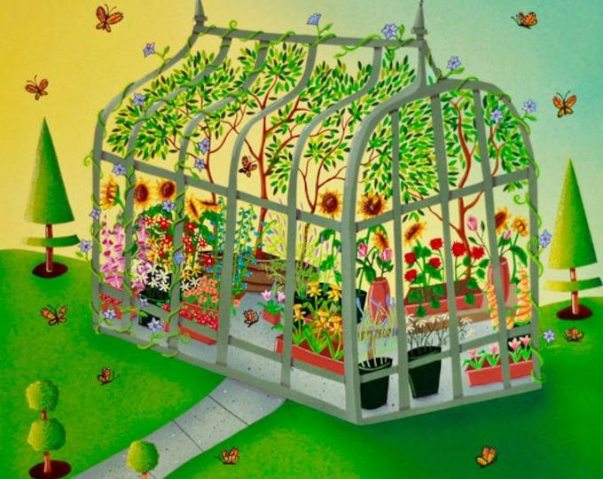 GREEN HOUSE Framed Art Print   Nature Painting   Flowers and Butterflies Garden Wall Art   Floral Green House Print   Valerie Walsh   12x12