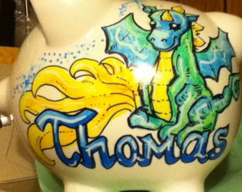 Personalized Handpainted Boy Dragon Piggy Bank