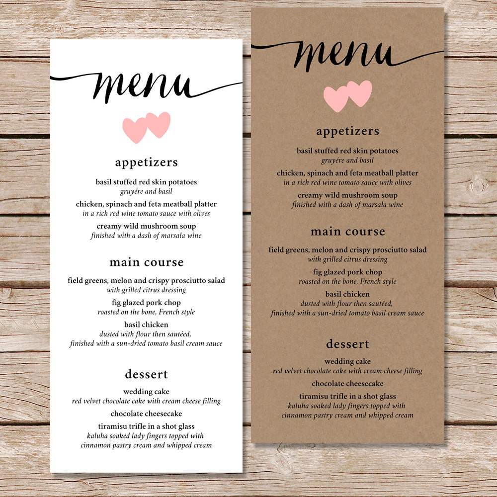 wedding menu / menu template / printed menu / printable menu