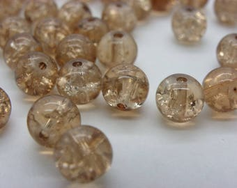 50 8 mm cracked Crystal 8 mm with a beautiful beige camel glass beads