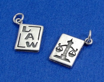 Law Book Charm - Sterling Silver Law Book Charm for Necklace or Bracelet