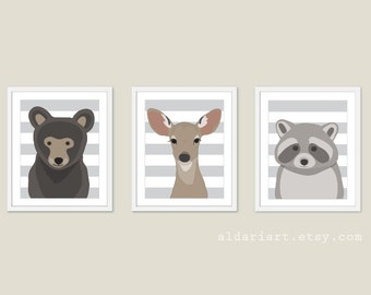 Woodland Nursery Wall Art - Bear Deer Raccoon Prints - Nursery Prints - Woodland Nursery Art - 3 prints 5x7 or 8x10 - Frames not included