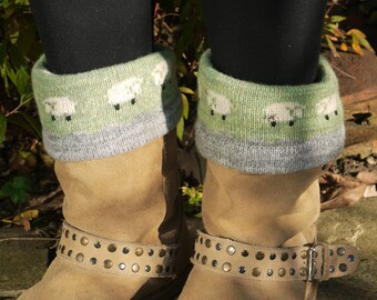 Knitted lambswool boot topper or cuff with sheep design