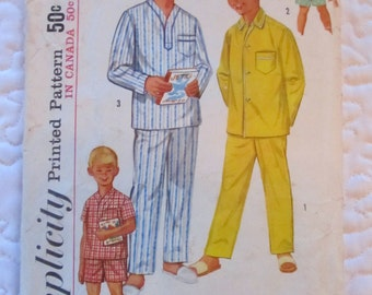 Vintage simplicité - garçons pyjamas (1434, taille 10) patron de couture des années 1950