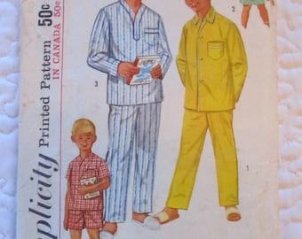 vintage SIMPLICITY- BOYS PAJAMAS (1434, size 10) sewing pattern 1950s