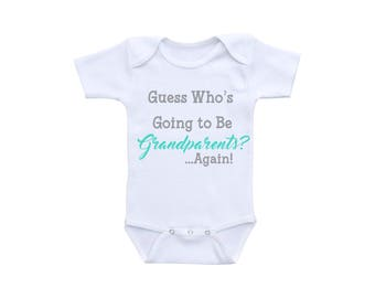 Pregnancy Reveal Grandparents Again Grandparents to Be Baby Shirt or Gerber Onesie® New Grandparents Gift Baby Announcement Onesie® New Baby