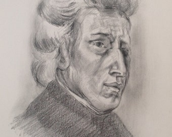100% Handmade Pencil Drawing,Charcoal, Frederic Chopin,Musician,Music Lover Gift,Portrait,Composer,Pianist,Poland,Polonaise,Nocturne,Etude