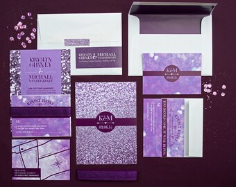 Wedding invitation package; invite, reply card, map, glitzy, glam, glamorous, sparkle, glitter, glittery