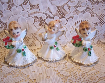 Three Miniature Napco Christmas Angel Figurines