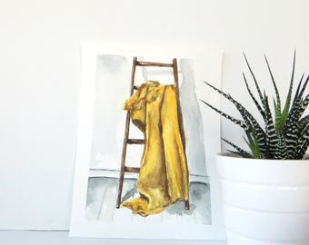 Yellow Blanket Spread On A Ladder Watercolor Original Painting